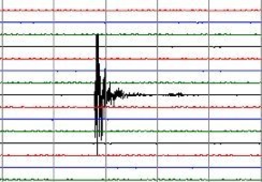 This is how the earthquake looked on a seismometer located in Borrego Springs.