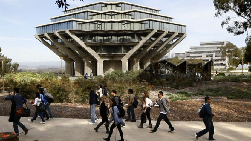 Students at UC San Diego walk by the Geisel Library on campus in this 2010 file photo. The university warned students and staff Friday that someone is secretly video recording women on campus.