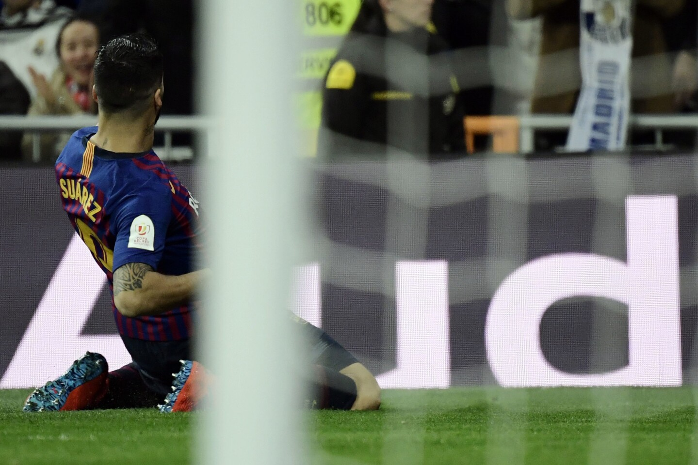 Barcelona's Uruguayan forward Luis Suarez celebrates his goal during the Spanish Copa del Rey (King's Cup) semi-final second leg football match between Real Madrid and Barcelona at the Santiago Bernabeu stadium in Madrid on February 27, 2019. (Photo by JAVIER SORIANO / AFP)JAVIER SORIANO/AFP/Getty Images ** OUTS - ELSENT, FPG, CM - OUTS * NM, PH, VA if sourced by CT, LA or MoD **