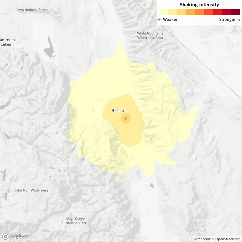 The location of a magnitude 3.7 earthquake Wednesday, April 29, 2020, near Reedley, Calif.