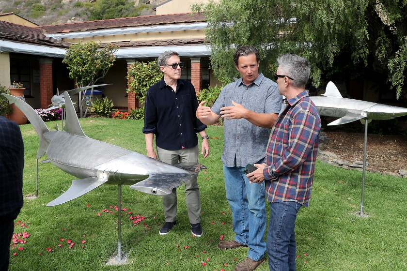 Casey Parlette, center, is the creator of the shark sculptures temporarily installed on the lawn at Laguna Beach City Hall.