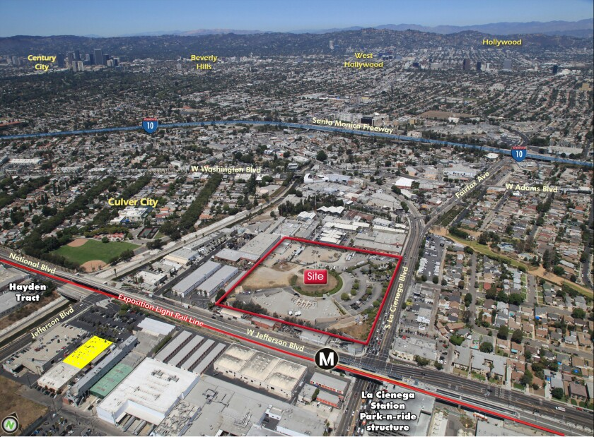 The 10-acre site at Jefferson and La Cienega boulevards outlined in red is being sold by Cumulus Media Inc.