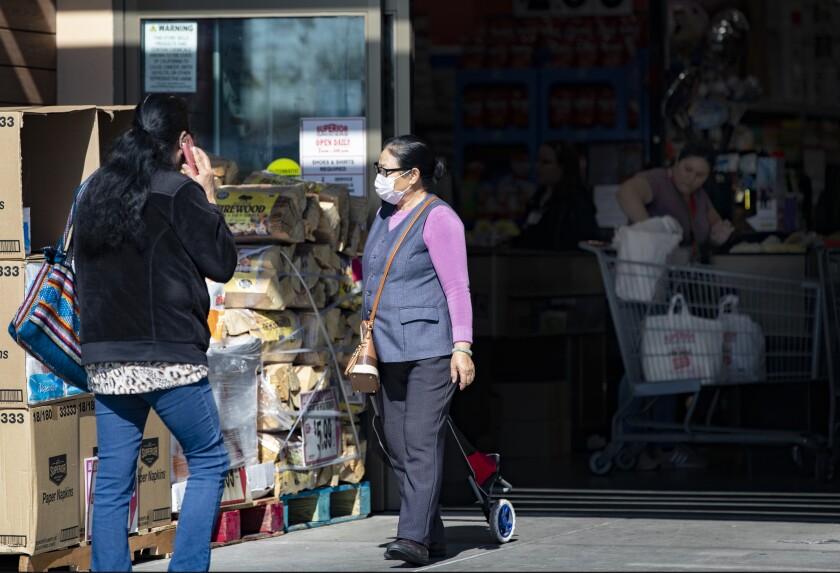 Shoppers at El Superior Market in El Monte