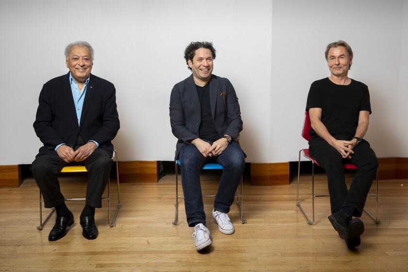 Zubin Mehta, left, Gustavo Dudamel and Esa-Pekka Salonen