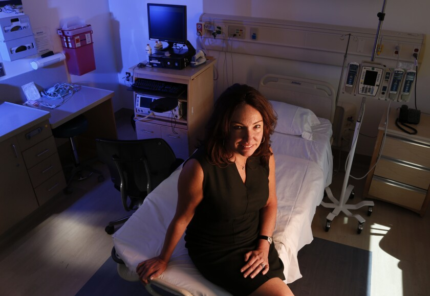 "Allyson Brooks an obstetrician at Hoag Hospital in Newport Beach, said the hospital began trying to bring down their C-section rate in 2013, when it reached 31% among low-risk mothers. Hoag's ""NTSV"" rate dropped to 26% in 2014. (Mark Boster / Los Angeles Times)"
