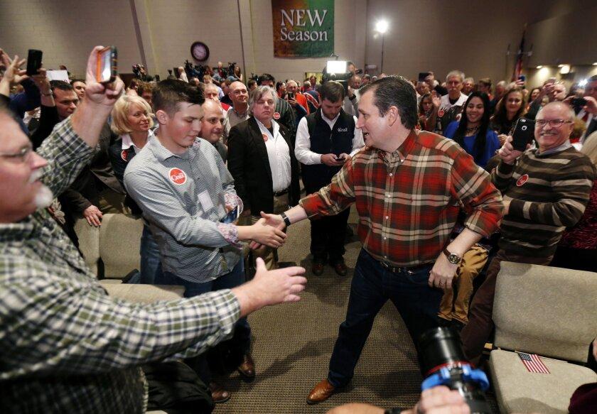 Republican presidential candidate Sen. Ted Cruz campaigns at Life Church in Mechanicsville, Va. on Dec. 18.