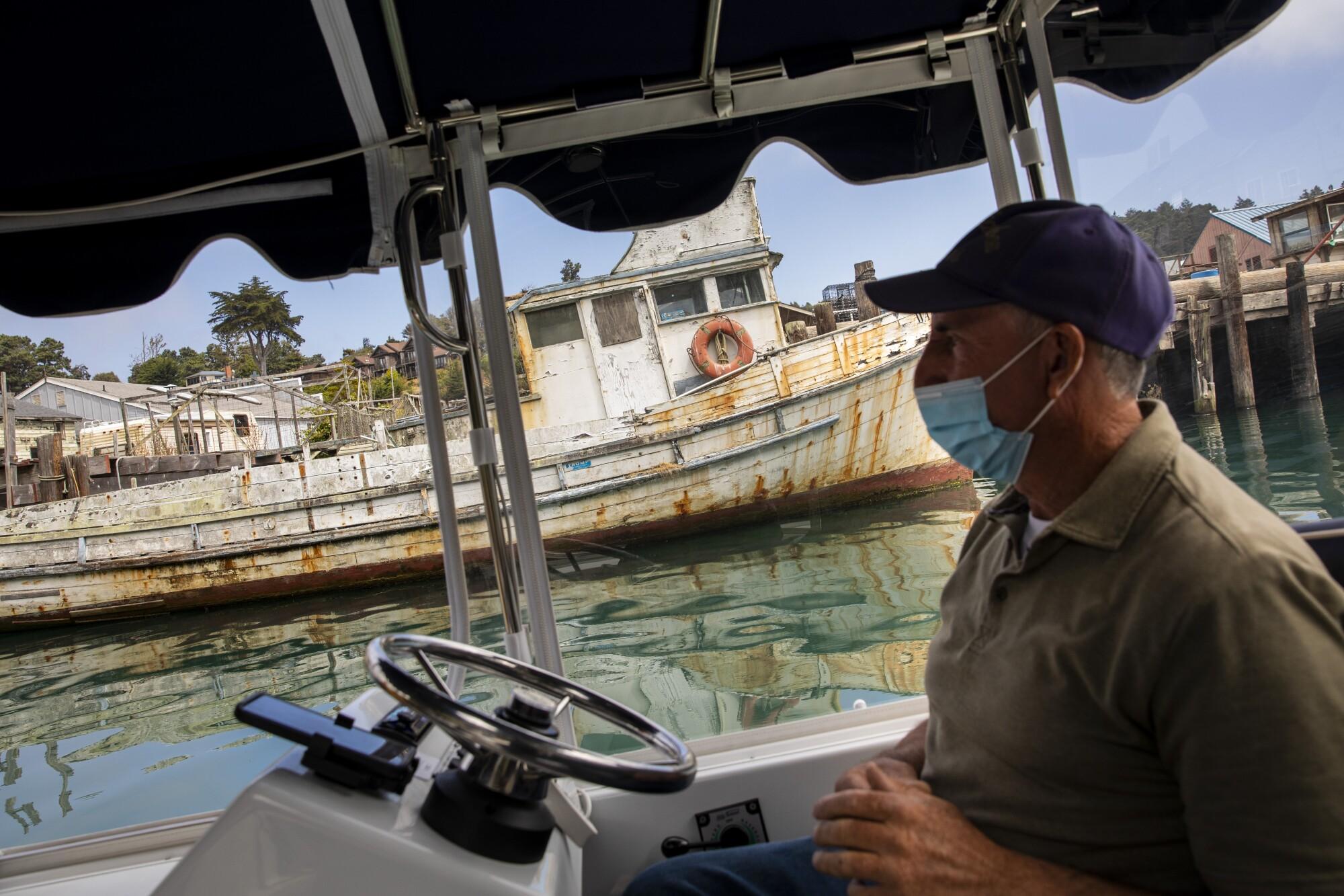 Captain Dan Platt takes people on a boat tour down the Noyo River