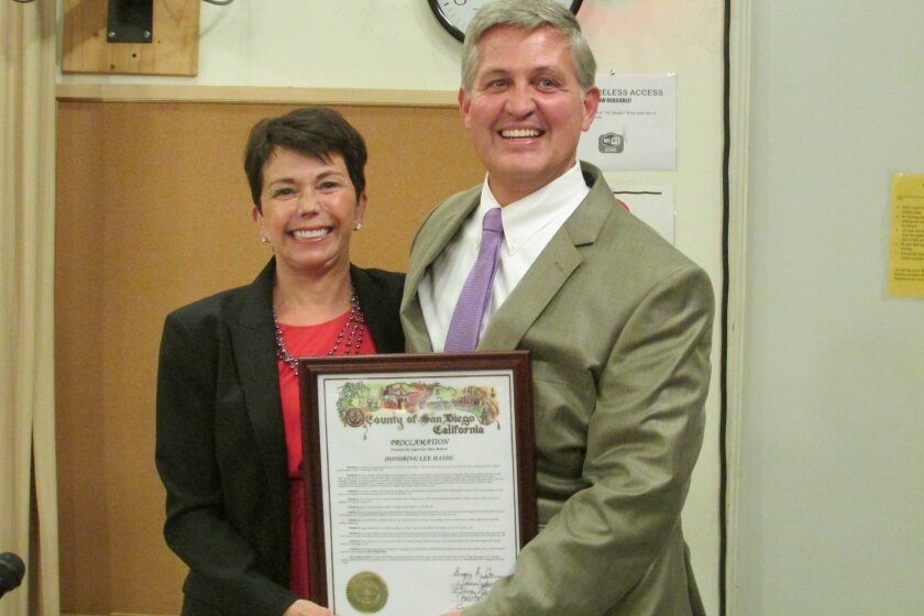 Outgoing Del Mar Mayor Lee Haydu with County Supervisor Dave Roberts