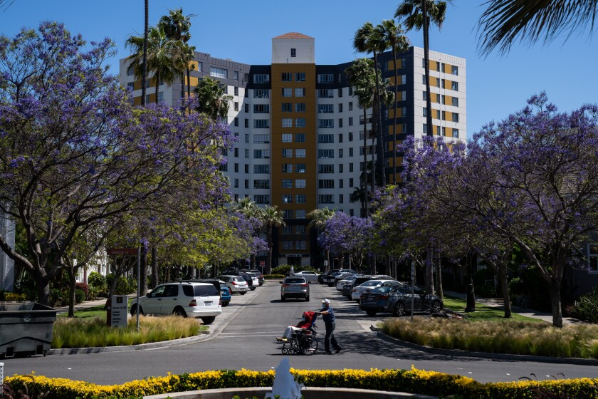 Park La Brea in Los Angeles, shown in May, is the largest housing complex west of the Mississippi River.