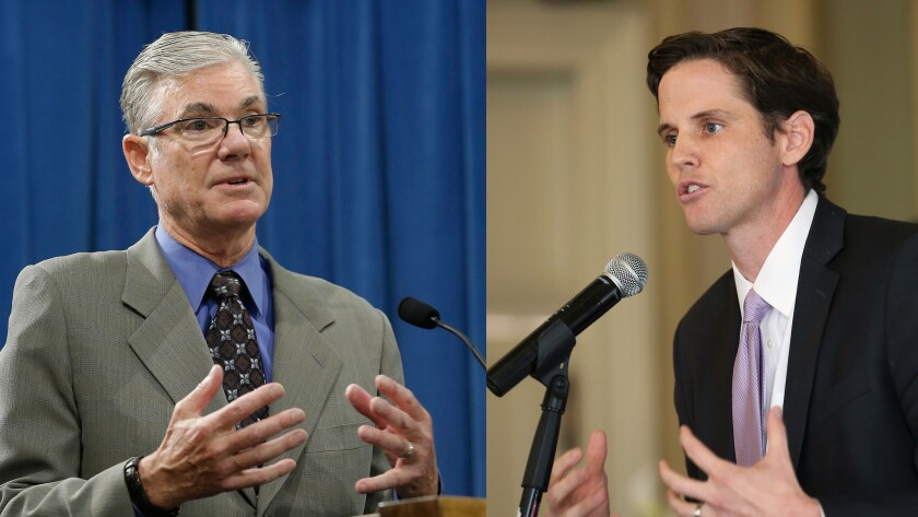 Superintendent of Public Education Tom Torlakson (left), who is seeking reelection, and former charter schools executive, Marshall Tuck (right), are both running for State Superintendent.