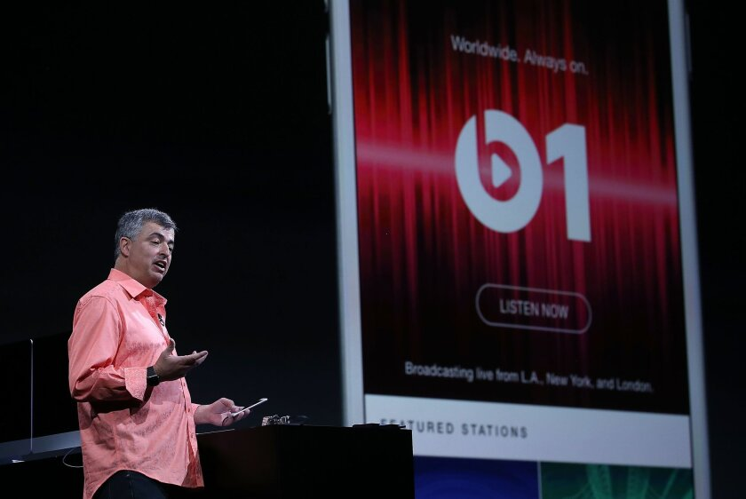 Eddy Cue, Apple's senior vice president of Internet software and services, introduces Apple Music earlier this month in San Francisco. The service launched Tuesday.