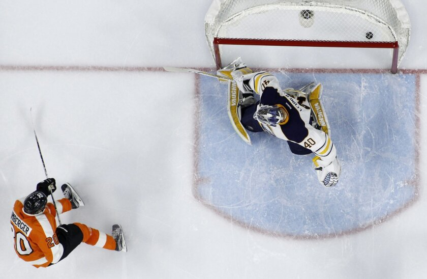 Philadelphia Flyers' R.J. Umberger, left, scores a goal against Buffalo Sabres' Robin Lehner during the second period of an NHL hockey game, Thursday, Feb. 11, 2016, in Philadelphia. (AP Photo/Matt Slocum)