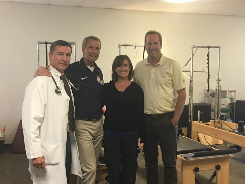 The San Diego Sports Medicine and Family Health Center team: Dr. Allen Richburg, Dr. Jeff Anthony, Doreen and Dave Hall.