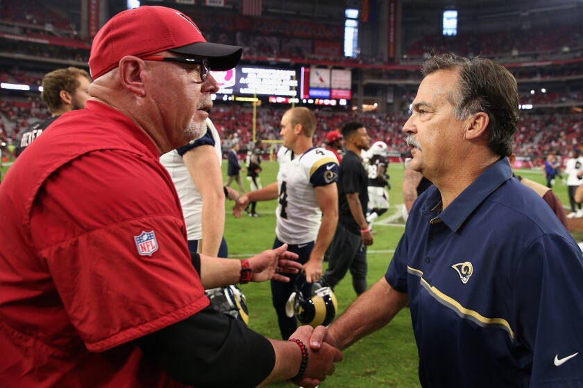 Arizona Coach Bruce Arians, left, and Rams Coach Jeff Fisher are not exactly pals.