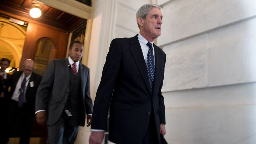 Robert S. Mueller III, the special counsel probing Russian interference, leaves the Capitol building after meeting with the Senate Judiciary Committee on June 21, 2017.