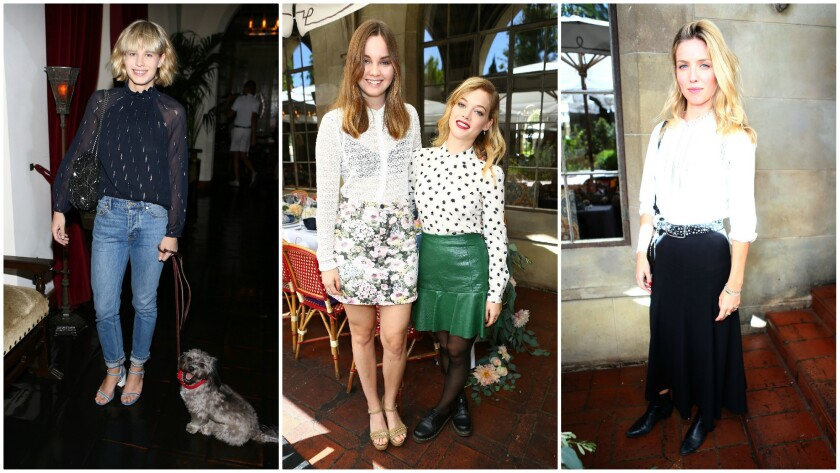 Lisa Dengler, Liana Liberato, Jane Levy and Annabelle Wallis attend the lunch for Rebecca Taylor at the Chateau Marmont.