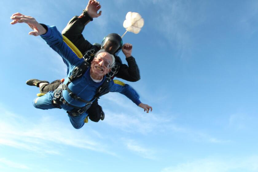 Carlsbad residemt Glenn Quillin, photographed during a tandem sky-diving jump near Otay Lakes, to celebrate his 100th birthday in 2016. He passed away on Sept. 1.