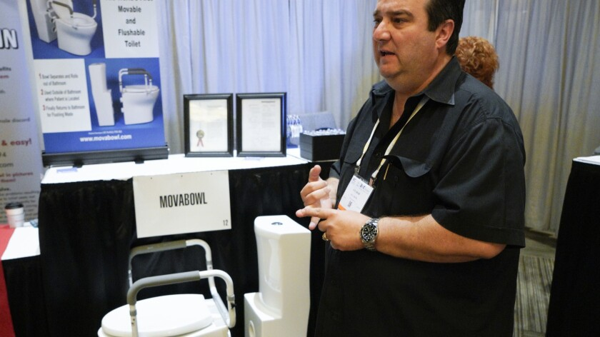Jay Akar explains that his Movabowl is the world's first movable and flushable toilet. Akar was a