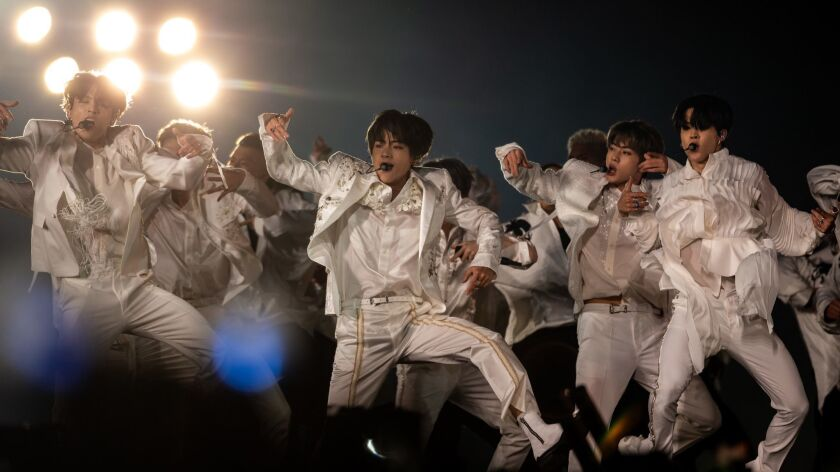 PASADENA, CALIF. - MAY 04: Seven member South Korean K-pop boy band BTS performs on stage at The Ros