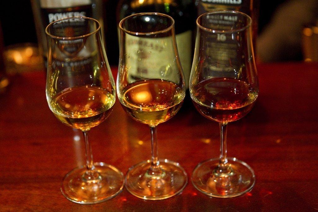 A flight of Irish whiskeys at Bar Jackalope downtown.