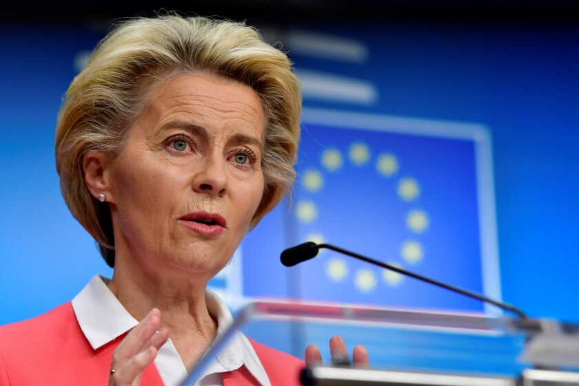 European Commission President Ursula von der Leyen speaks during a press conference at an EU summit in Brussels, Friday, Oct. 2, 2020. European Union leaders assessed the state of their economy and the impact of the coronavirus pandemic on it during their final day of a summit meeting. (John Thys, Pool via AP)