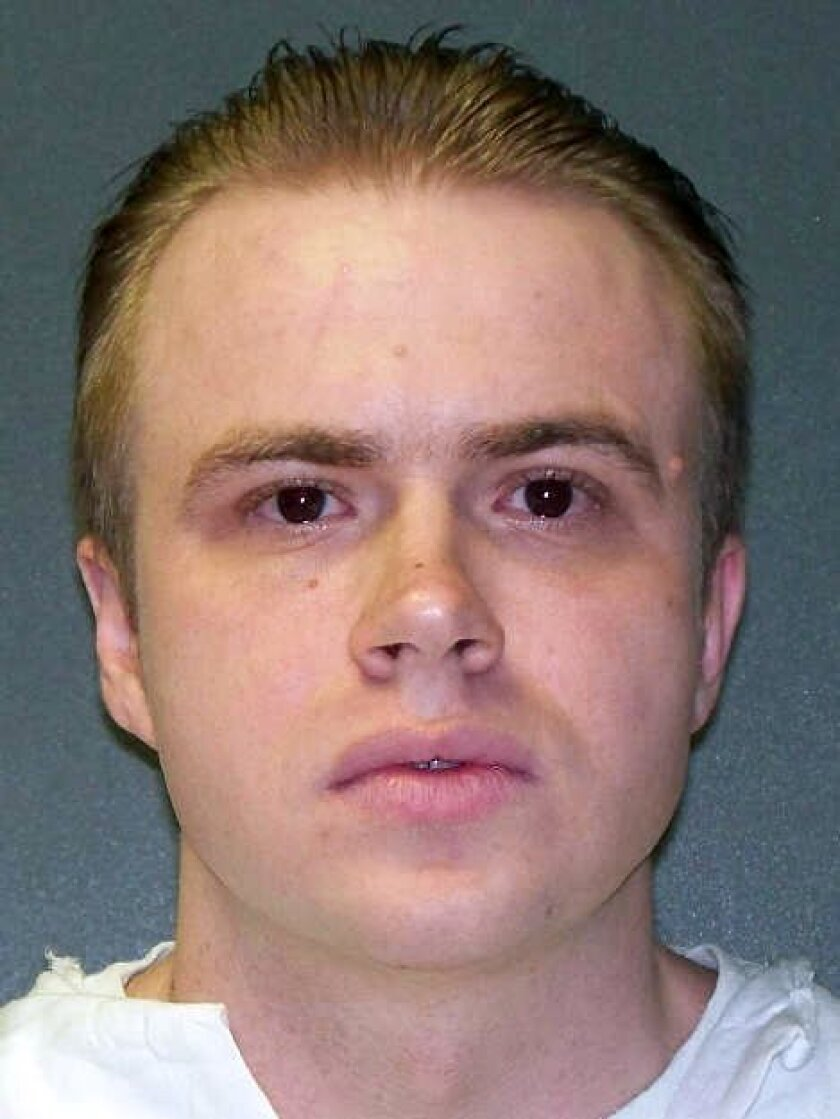 This undated handout photo provided by the Texas Department of Criminal Justice shows Robert Pruett. On Tuesday, April 28, 2015, Pruett, 35, is scheduled to die for the fatal stabbing of corrections officer Daniel Nagle more than 15 years ago. According to prosecutors, Pruett was angry at Nagle for