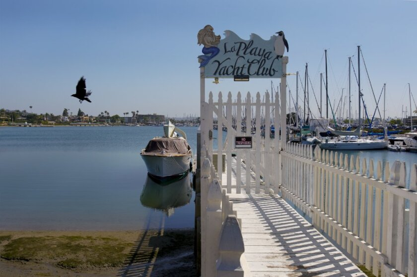 Near the intersection of San Antonio Avenue and Qualtrough Street in Point Loma is the La Playa Yacht Club Pier that has gated pier and posted No Trespassing sign.