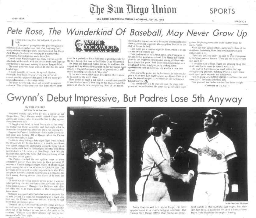 Front page of the Sports section of the San Diego Union tells the story of Tony Gwynn's debut in July 1982.
