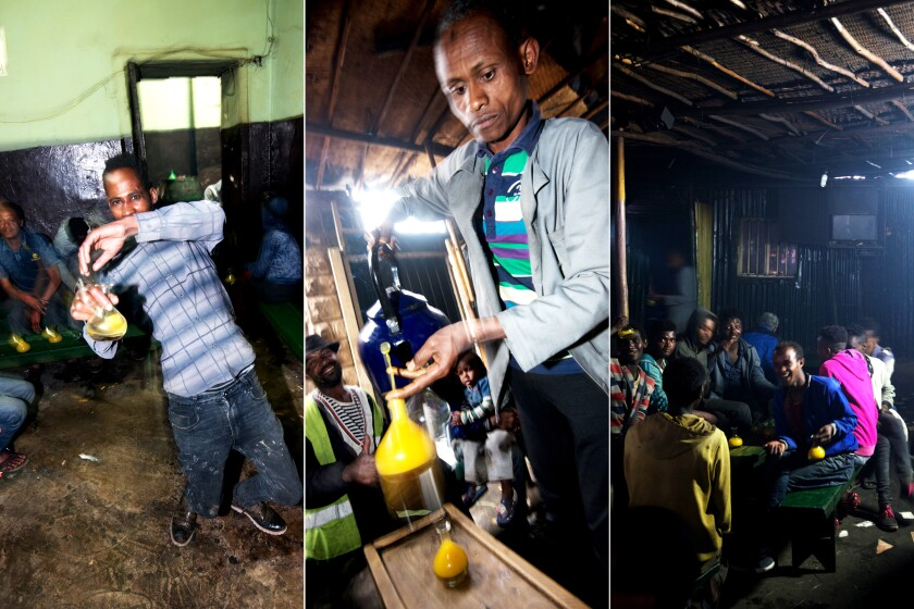 Scenes from a tej bet bar in Addis Ababa, Ethiopia