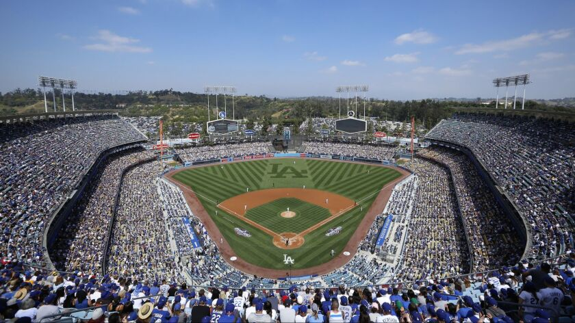 Dodger Stadium is seen during the first inning of an opening day baseball game between the Los Angel