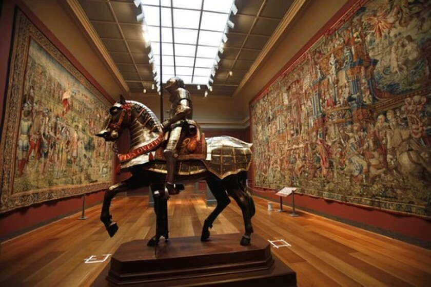 "SHIELDED: Suits for horse and rider are among the pieces in ""The Art of Power: Royal Armor and Portraits From Imperial Spain."""