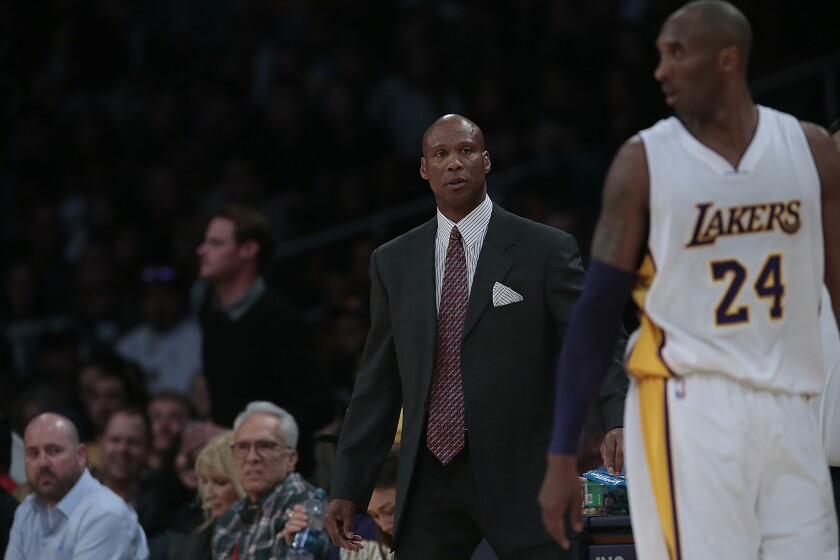 Lakers Coach Byron Scott looks on as Kobe Bryant takes the floor against Indiana on Nov. 29.