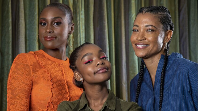 LAS VEGAS, CALIF. -- WEDNESDAY, APRIL 3, 2019: Actresses Issa Rae, left, Marsai Martin, middle, and