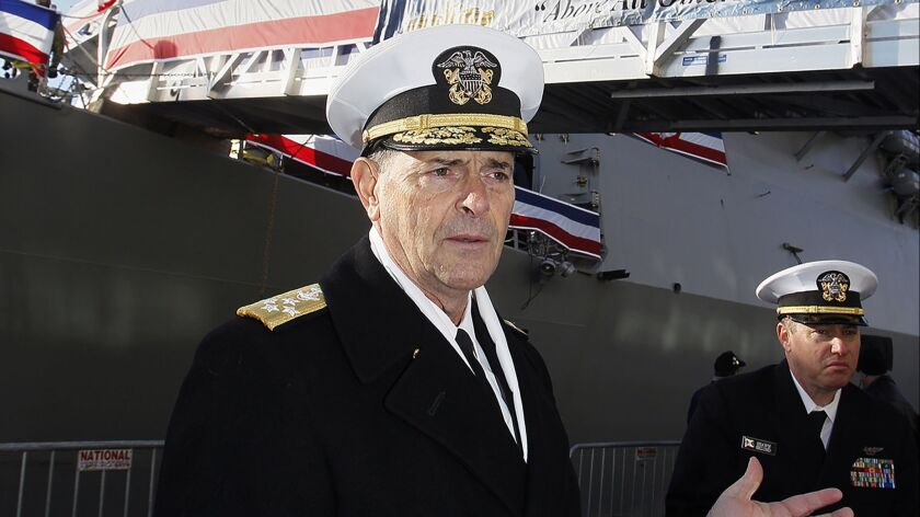 FILE - In this Dec. 1, 2018 file photo, Vice Chief of Naval Operations, Adm. William Moran describes