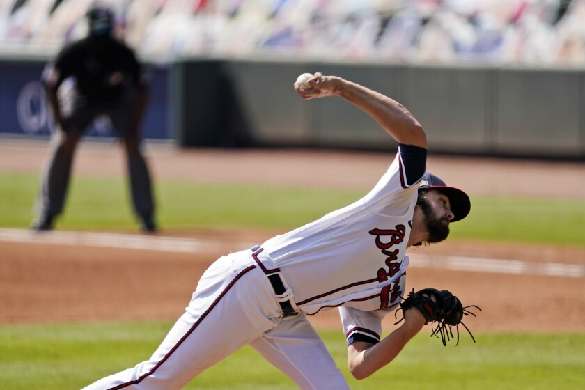Atlanta Braves starter Ian Anderson pitches against the Cincinnati Reds in Game 2 of a National League wild-card series.