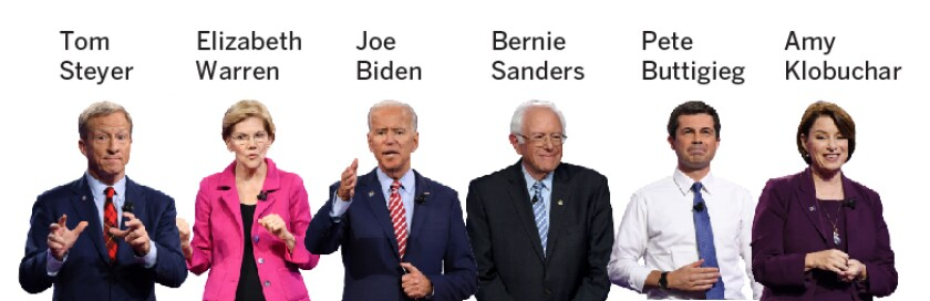 The Democratic presidential field is set to have its smallest and potentially most influential debate yet. This two-hour debate will feature (from left) billionaire activist Tom Steyer, Senator Elizabeth Warren of Massachusetts, former Vice President Joe Biden, Senator Bernie Sanders of Vermont, former South Bend, Ind. Mayor Pete Buttigieg and Senator Amy Klobuchar of Minnesota.