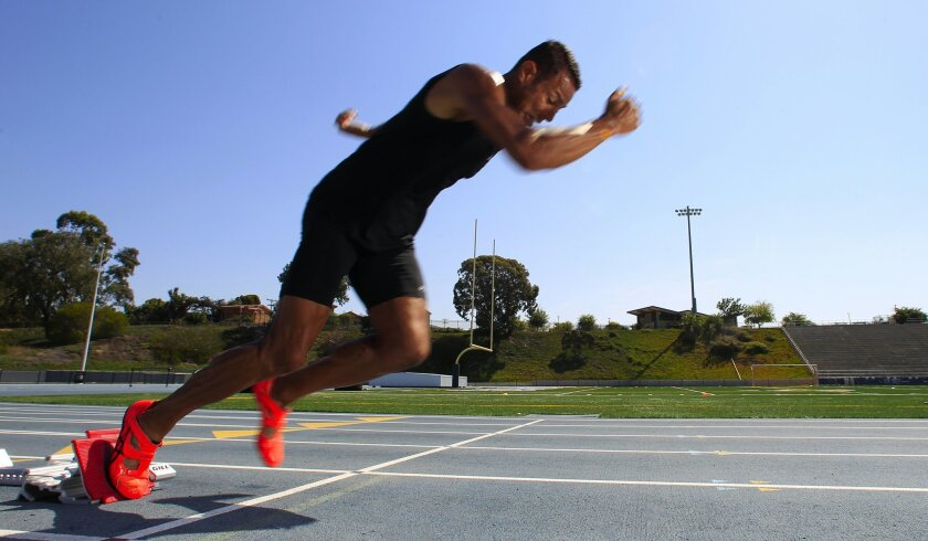 Joao Oliveira a top world class athlete from Brazil trains at Mesa College for the 110 meter hurdles.