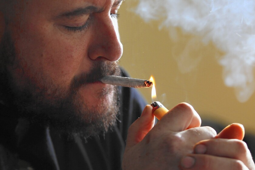 The 2016 election promises to be an expensive one for the legalization movement, with ballot measures likely in California, Nevada, Maine and Massachusetts. Above, former U.S. Marine Sgt. Ryan Begin smokes medical marijuana at his home in Belfast, Maine.