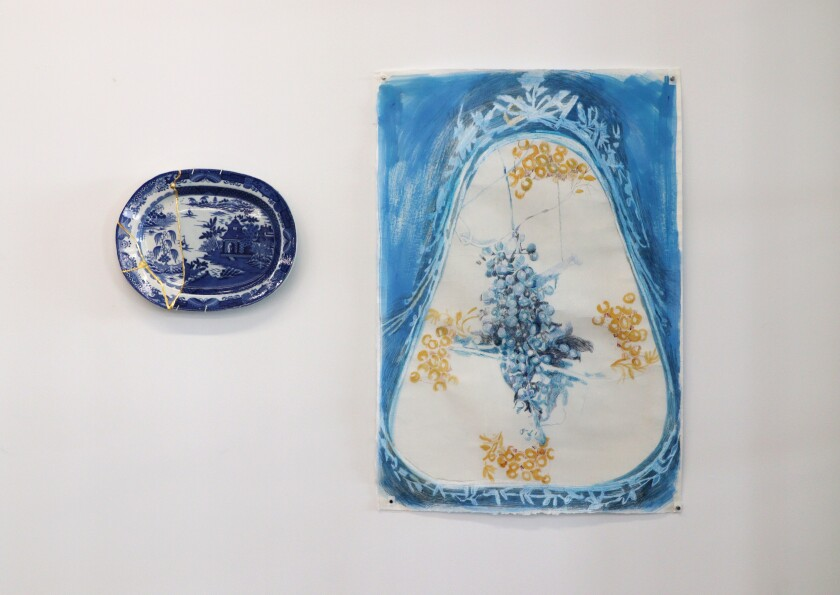 """At left: Paul Scott's """"Scott's Cumbrian Blue(s), Garden No: 2 (after Turner and Stephenson),"""" 2014-2019; collage, Staffordshire transferware with Chinese porcelain, tile cement, epoxy resin and gold leaf. Right: Fran Siegel's """"Underside,"""" 2020; pencil and pigment on paper."""