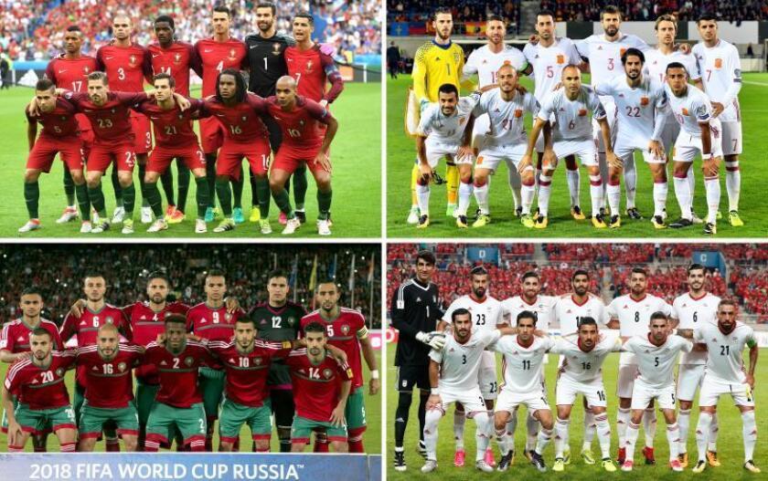 Combo de imágenes de los onces titulares de las selecciones del grupo B (Portugal, España, Marruecos e Irán) tras el sorteo del Mundial de Rusia 2018 celebrado en el Palacio del Kremlin de Moscú, Rusia. EFE