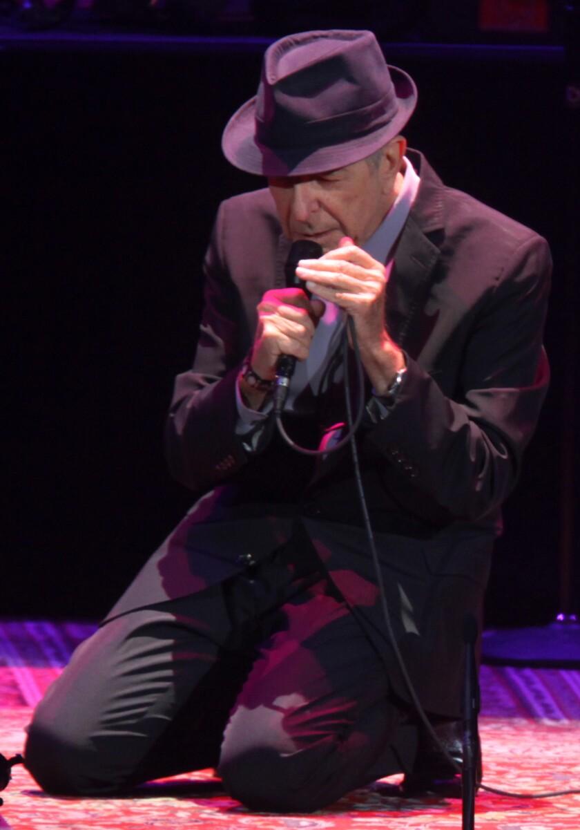 Leonard Cohen performing in 2012  in Los Angeles.