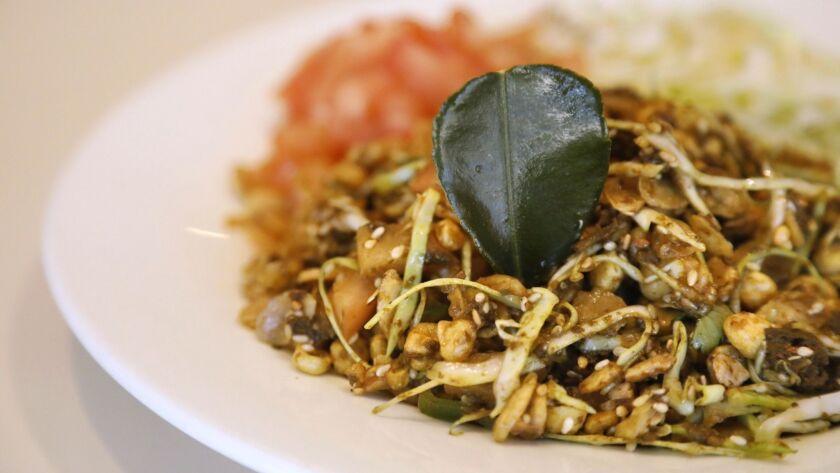 INGLEWOOD, CA - MARCH 31, 2019 - - Tea leaf salad is on the menu at Mutiara Food & Market, a halal B