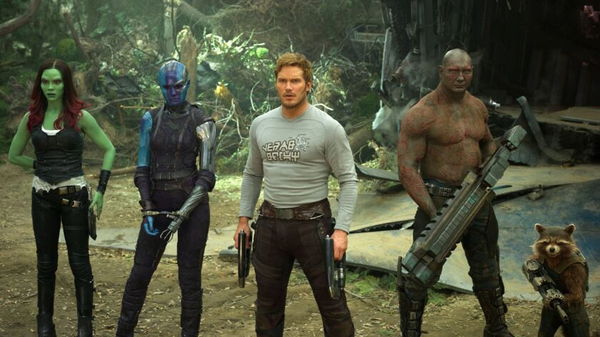 This image released by Disney-Marvel shows Zoe Saldana, from left, Karen Gillan, Chris Pratt, Dave B
