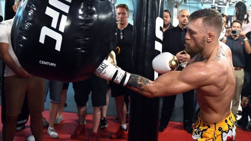 Conor McGregor works out at the UFC Performance Institute on Aug. 11 in Las Vegas.