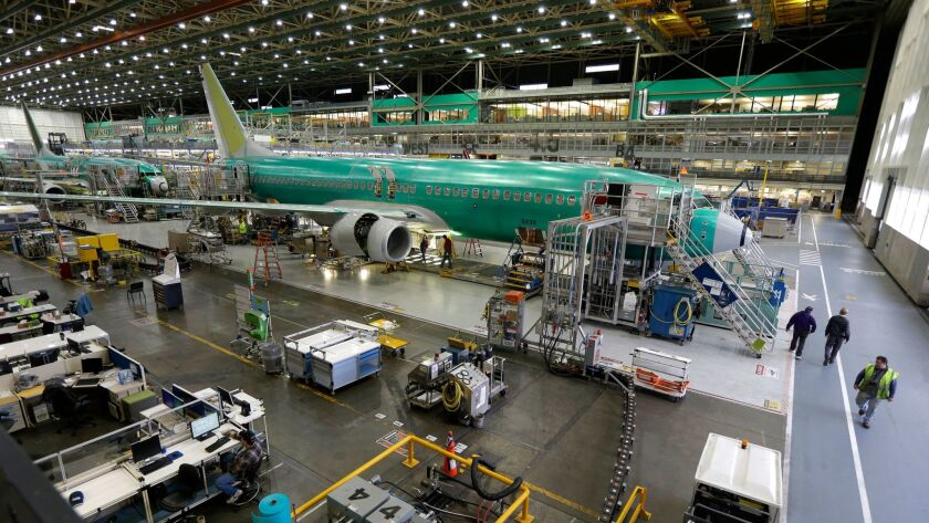 Boeing 737-800 airplanes on the assembly line in 2014 in Renton, Wash.