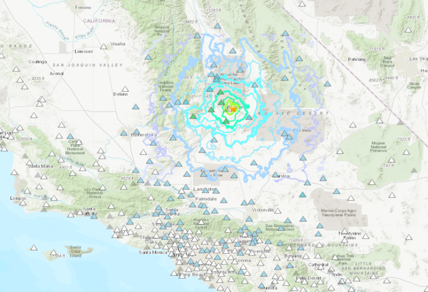 A magnitude 4.9 earthquake occurred at 6:11 a.m. on Friday near Ridgecrest, producing shaking that was lightly felt in San Diego County.