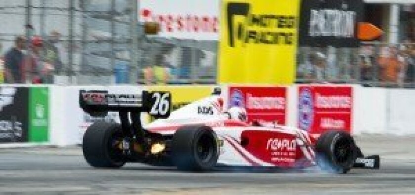 Zach Veach (Indy Lights) braking hard for Turn 8