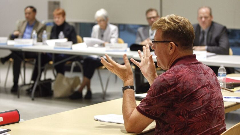 SAN DIEGO, September 25, 2018 | Board member Doug Case speaks during a meeting of the Community Revi