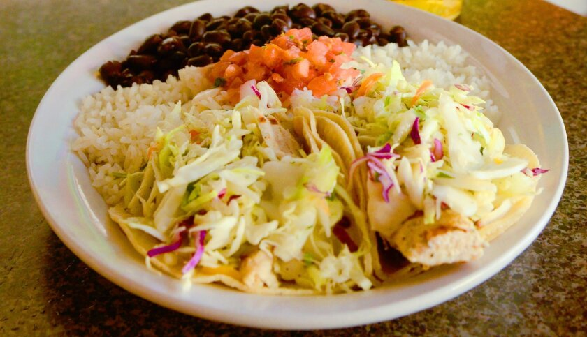 Wahoo's top seller is its Entree No. 2 with two, grilled-fish tacos; citrus slaw, beans, rice and salsa fresca.