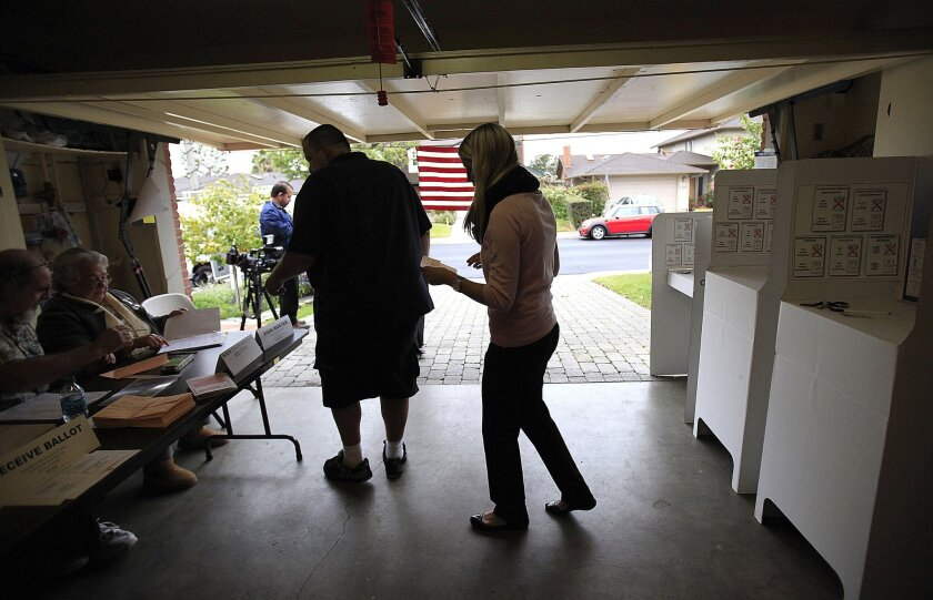 Alexandra Preece voted in a garage at 3285 Galloway Drive in University City.